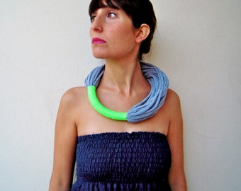 The funky neon necklace- handmade in neon green and grey jersey fabric