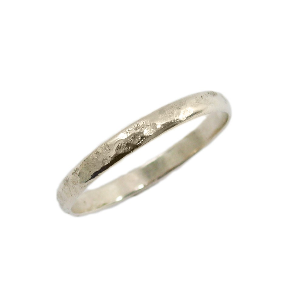 hammered wedding ring 14k hammered white gold by