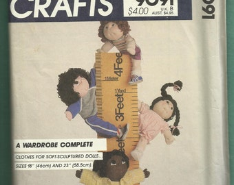 Vintage 1980s McCalls 9091 Soft Sculptured Doll Wardrobe Sizes 18 & 23 inches Tall UNCUT
