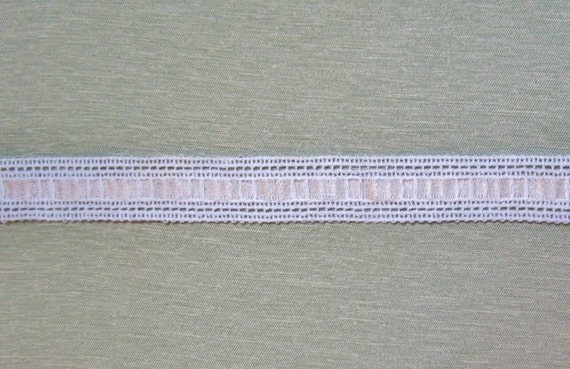 Vintage trim with pink silk ribbon, c.1920's, for clothing or home decor