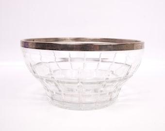 Vintage Glass Salad Bowl Silver Plated Rim Beveled Cut Glass Serving Bowl