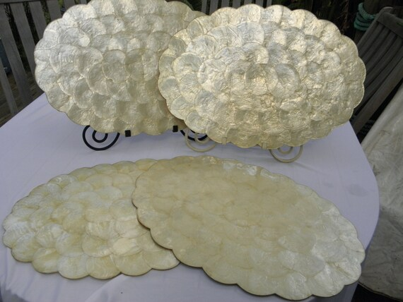 4 Capiz Scalloped Seashell Placemats Cork Backing Mother Of