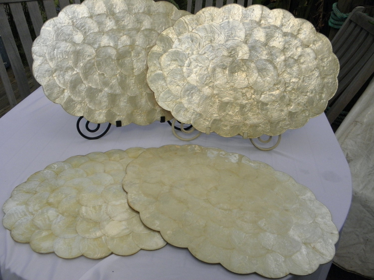 4 Capiz Scalloped Seashell Placemats Cork Backing By
