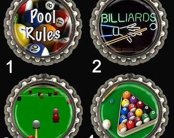 Pool Billiards  Fridge Magnet Set Office Locker Scrapbooking Keyring Bookmark Wine Glass Charm Zipper Pull