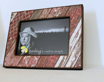 4x6 Photo Frame Red Weathered Rustic Wood