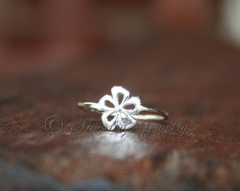 Flower ring - Sterling silver Spring flowers Hawaii Hawaiian Hibiscus