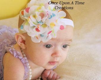 Rainbow Polka Dot Birthday Puff Headband - Fabric Chiffon Flower - Newborn Baby Hairbow - Little Girls Hair Bow - Photo Prop Hair Accessory
