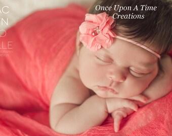 Coral Chiffon Flower Skinny Elastic Headband - Photo Prop - Gift - Perfect for Newborn Baby - Little Girls Hair Bow