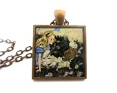 """Alice in Wonderland with White Rabbit necklace, 1"""" square glass tile in metal tray with chain"""