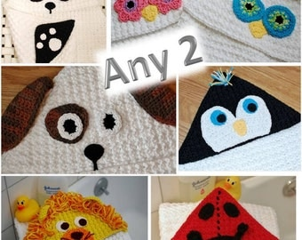 Crochet Pattern Sale - Any 2 Hooded Baby Towels Crochet Pattern Package (also make great blankets)