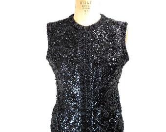 vintage 1960s black sequin vest / Franklin Simon New York / zipper front / wool / embellished vest / women's vintage vest / size medium