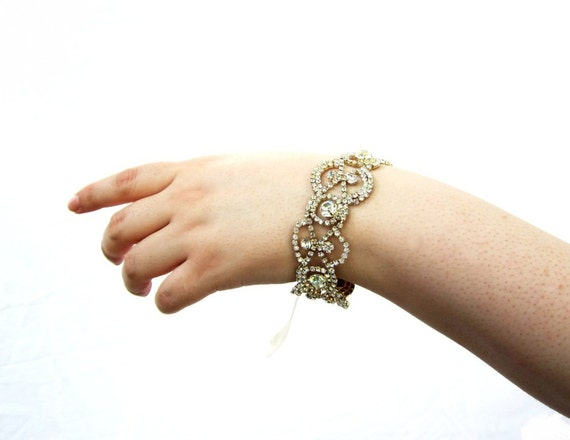 Bridal bracelet, rhinestone bracelet, art deco bracelet, bridal accessory, bridal jewelry