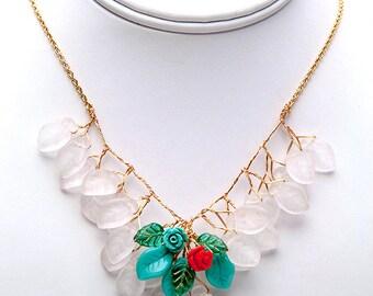 Blue Orange Flower Necklace, Bib Necklace, Vintage Style Jewelry, Spring Jewelry