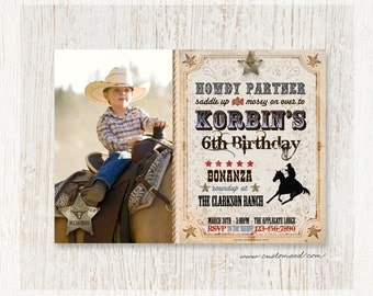 Cowboy Birthday Photo Invitation, Wild West, Birthday Invitations, Personalized Photo Card, Printable, Printed Cards, Two Sides, boy invites
