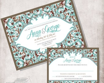 DIY Botanical Wedding Invitation printable, Digital file Only