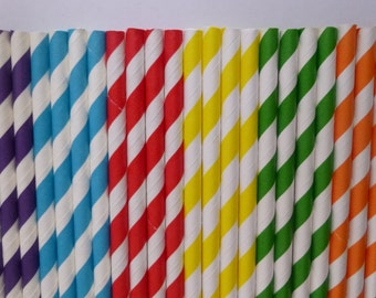 25 Rainbow Mixed- Purple Yellow Red Blue Green Orange Striped Paper Straws-Candy Land Birthday Party- Ice Cream Shoppe Decorations