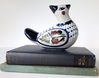 Vintage Blue Tonala Bird,  Mexican Art Pottery Bird Figurine