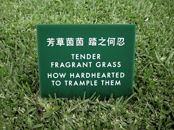 Funny Sign. Keep off the grass sign. Yard Sign. Lawn Sign. Chinglish Sign. Tender Fragrant Grass