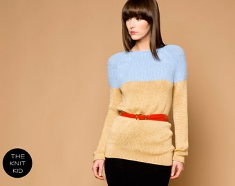 knitted raglan sweater beige light blue  color block colour merino mohair theknitkid THE KNIT KID