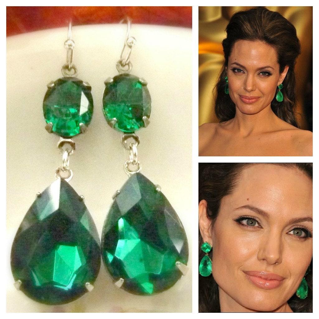 Emerald Green Earrings Angelina Jolie Inspired Style Teardrop
