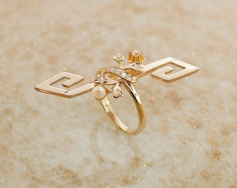 Vintage Ring - Vintage Diamond Ring - 14K Rose Gold and Seed Pearls