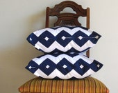 NAVY PILLOW decorative covers 18 x 18 modern chevron zig zag white dark navy Riley Blake cotton Set of TWO - VFIllustration