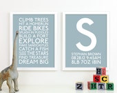 Baby Boy Nursery Art Print Playroom Rules Subway Art Quotes Baby Boys Room Decor Nursery Monogram Birth Baby Announcement Baby Name