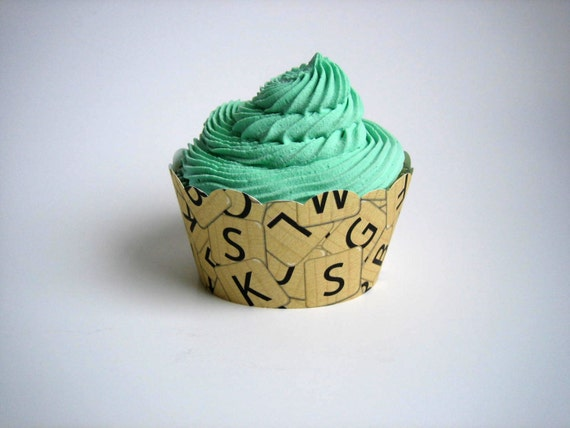Scrabble Cupcake Wrappers - Set of 12 - Words with Friends, Letters, Bridal Shower, Birthday, Wedding, Baby Shower, Dorm Party
