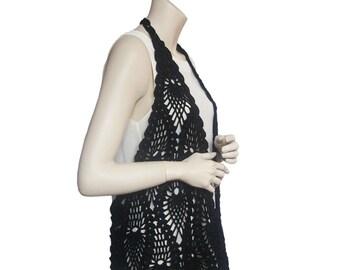 Black vest,crochet vest summer,hand crochet vest,vest women