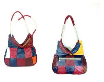 Patchwork Leather Hobo Bag / 80s Colorful Shoulder Bag