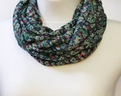 Navy Blue Floral Infinity Scarf Cowl