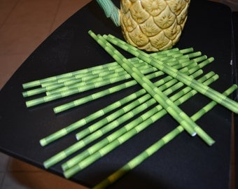 25 Piece Bamboo Straw Set with Do It Yourself (DIY) Flags