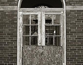 Door, Manteno State Hospital, Illinois - Abandoned Asylum Black and White Photography Print 5x7