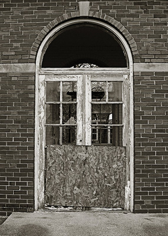 Door, Manteno State Hospital, Illinois - Abandoned Asylum Black and White Photography Print 5x7