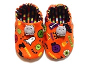 Halloween Baby Boy Shoes with Owls, 0-6 mos. Baby Booties, Baby Gift