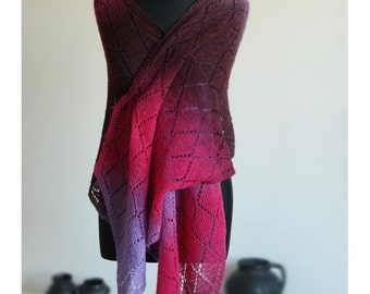 Shawl  Lace Pink Lilac Burgundy Wool Estonian . Scarf Hand Knitted Kauni. MADE TO ORDER.
