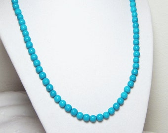 Turquoise Necklace Round Beaded Single Strand Jewellery Small 6mm Beads