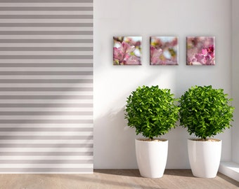 Set of 3 - pink floral art on canvas - wedding gift idea