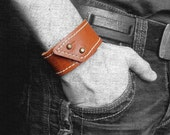 Leather bracelet, brown color, leather cuff for men and women
