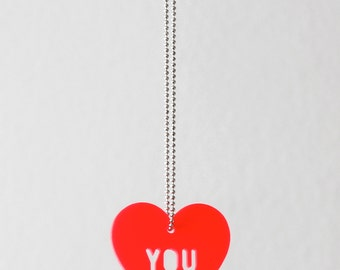 Necklace, Heart, Love, fluorescent red