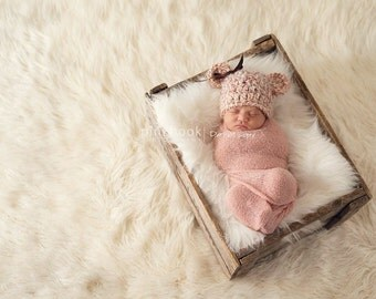 Newborn/Baby Girl/Soft Chunky/Pink Baby Bear Hat/Photo Prop