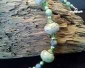 Pistachio Mint Blue Lampwork Beaded Silver Bracelet with Swarovski Crystals and Pearls