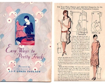Vintage Art Deco 1920s Dressmaking Ebook - Easy Ways to Pretty Frocks - Dress Pattern Flapper  Lingerie Craft Millinery Costume Design