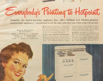 Kitchen Wall Decor - Vintage Stove Ad -- Hotpoint Range Oven Appliance - 1940s Magazine Wall Art or Collectible