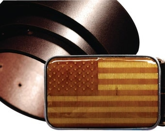 INTERCHANGEABLE belt buckle, USA FLAG magnetic buckle, Flag Wooden buckle, Laser etched wooden belt buckle, Fourth of July buckle