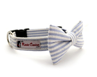 Seersucker Dog Collar (Blue , White Striped Dog Collar Only - Matching Bow Tie Available Separately for Wedding & Special Occasion)