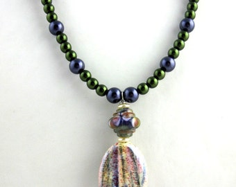 Green and Purple Pendant Necklace, Beaded Necklace, Beadwork Necklace, Beaded Jewelry, Women's Jewelry,  Gifts for Her