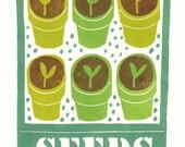 Growing seedlings lino print