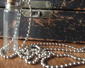 Bottle Necklace Empty Apothecary DIY Bottle Vial Charm Necklace Aromatherapy Potions or Poisons