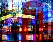 """London photography,  British decor, phone booth, 8x8"""" photo, telephone box, double exposure, travel photography, red, blue, modern, urban"""